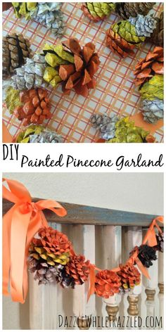 How to turn pinecones into a rustic Halloween garland by painting them as candy corn as well as in orange and black color blocks / via DazzleWhileFrazzled.com blog