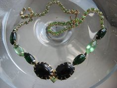 Mint and dark green rhinestone necklace Petite Mint by 2007musarra, $39.00