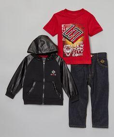 Loving this Black Logo Hooded Jacket Set - Infant, Toddler & Boys on #zulily! #zulilyfinds