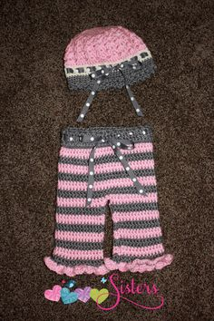 Baby Girl Crochet Pants Hat Set Pink Grey by sisterscraftcorner