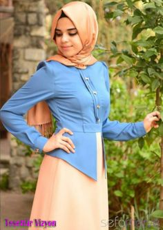 Aramiss tesettür elbise mavi