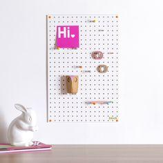 white pegboard, children's room storage ideas