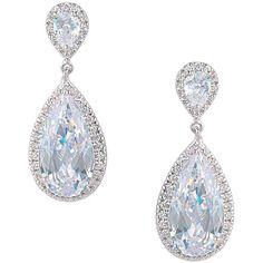 EVER FAITH Silver-Tone Zircon Wedding Dual Tear Drop Pierced Dangle... ($22) ❤ liked on Polyvore featuring jewelry, earrings, silver tone jewelry, dangle earrings, clear earrings, tear drop jewelry and long teardrop earrings