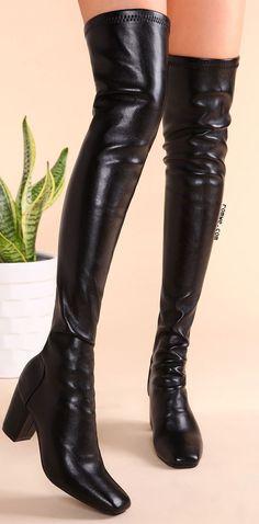 Black PU Square Toe Back Zipper Chunky Heel Thigh High Boots