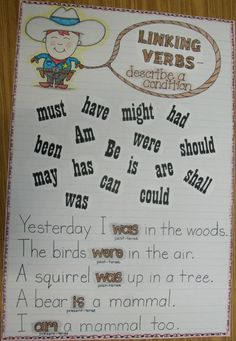 Week 21 Linking Verbs Grade Smarty-Arties taught by the Groovy Grandma! Grammar And Punctuation, Teaching Grammar, Grammar And Vocabulary, Teaching Writing, Teaching Ideas, Easy Grammar, Grammar Rules, Spelling Activities, Language Activities