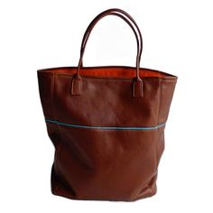 Thalia Street soft tote with turquoise piping | Mary Jo Matsumoto