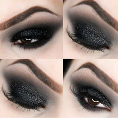Look ethereally edgy with intensely black smokey eyes laced in dark glistening shimmers. Snag this stunningly cool gaze using the essentials here.