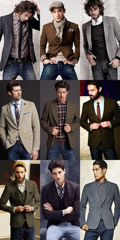Men's Denim Jeans With Tweed/Wool/Cord Blazers - Separates - Outfit Inspiration Lookbook