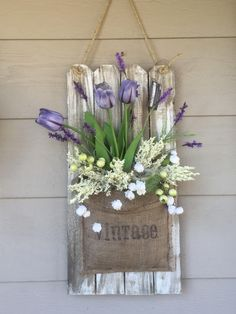 Spring / Easter Wall hanging Floral Arrangement Refurbished wood decor Front porch decor by AwsomeAccents on Etsy