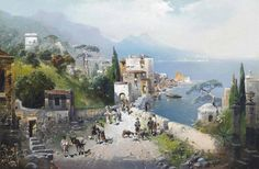 dekehlmark:  Robert Alott (1850-1910), Sentier Côtier fréquenté dans la Baie de Naples.   Coastal path frequented in the Bay of Naples