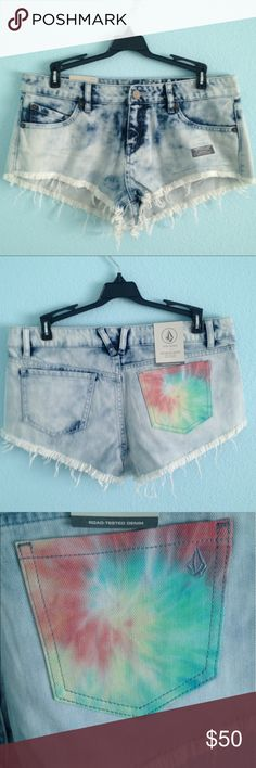 Jean shorts with tie dyed pocket Jean shorts with tie dye pocket. Brand new with tags. Back right pocket is tie dyed. Super stretchy fit. Size 7, waist size 28 Volcom Shorts