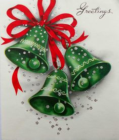 1940's 50's Green Bells Red Ribbon Silver Glitter Accents Vintage Christmas Card