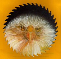 eagle on a saw blade