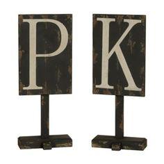 Distressed Black Monogram Finial Statue | Kirklands
