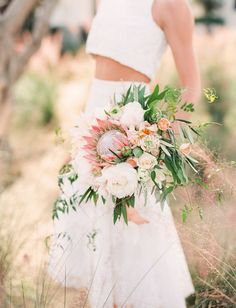protea bouquet - Katie Noonan and Karson Butler Events, dress Pas De Deux Bridal