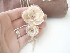 Rustic Ivory  Wedding Boutonniere  Groomsman  by MBrides on Etsy