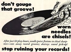 Don't gouge that groove! Worn needles are chisels! Stop ruining your records! Vinyl Junkies, Record Players, Cassette, Music Images, Phonograph, Vintage Records, Record Collection, Vinyl Records, 78 Records