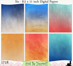 Distressed Sunset Beach Hues Digital Prints Instant Download Set of 6 - 8.5 x 11 inch Printable Papers JPEG & PDF Blue Orange Red 1718 JustBYourself 3.25 USD
