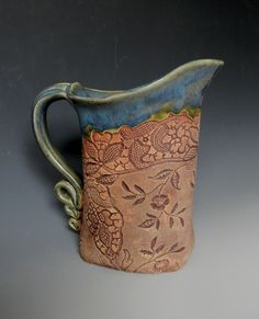 Green Antique Lace Collar Impressed Ceramic 1 Quart Pitcher. $45.00, via Etsy.