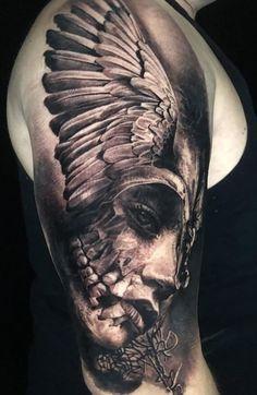 70 Tatuagens masculinas na parte superior do braço - Fotos e Tatuagens Skull Girl Tattoo, Skull Tattoo Design, Tattoo Sleeve Designs, Skull Tattoos, Body Art Tattoos, Viking Tattoo Sleeve, Realistic Tattoo Sleeve, Norse Tattoo, Viking Tattoos