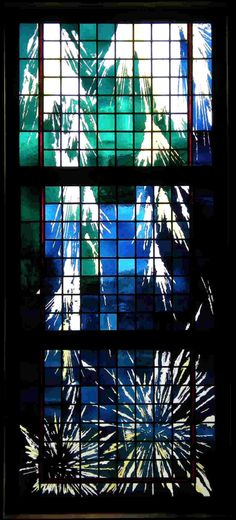 """""""Water"""" - Sacred Heart C.C., Punta Gorda, FL, 2008    3'6""""x8'6"""" etching and fire polishing on flashed glass with silver stain."""