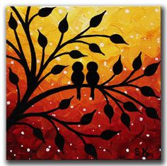 Original Mini painting of Love birds in orange yellow sunset. This Mini canvas art comes with the mini easel and is ready to display out of box.