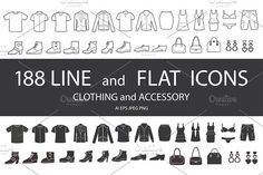 Ad: Set of clothing icons. by Designwork on Set of clothing, shoes, accessories line and flat icons. Women's , Men's and Children's fashion. Seamless patterns with icons. Business Brochure, Business Card Logo, Icon Clothing, Best Icons, Fashion Over 50, Women's Fashion, Modern Fashion, Fashion Rings, Script Type