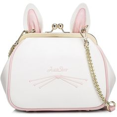 Pearl White Sweet Bunny Ears Kiss Lock Crossbody Bag (1.365 ARS) ❤ liked on Polyvore featuring bags, handbags, shoulder bags, borse, embroidered handbags, white cross body handbags, white purse, white shoulder handbags and white handbag