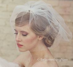 @Natasha Rosberg    wedding birdcage veil with flower rhinestone by BeSomethingNew, $85.00