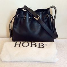 HOBBS BLACK LEATHER DRAWSTRING SHOULDER BAG - Whispers Dress Agency -  Shoulder Bags - £50 a25ef76f219ec