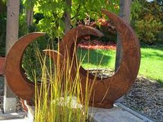 säule mit schale rost welcome willkommen metall gartendeko, Garten ideen