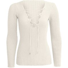 Yoins Beige Plunge Lace-up Knit Sweater with Long Sleeves ($14) ❤ liked on Polyvore featuring tops, sweaters, shirts, long sleeve tops, white, lace up long sleeve top, white knit shirt, long-sleeve shirt, white shirts and long sleeve sweater