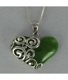 Jade Heart Scroll Pendant from Monroe and Main