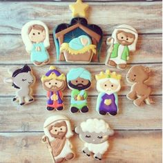 I adore how this Nativity set came out, Christmas, Advent cookies Fancy Cookies, Iced Cookies, Cute Cookies, Royal Icing Cookies, Cookies Et Biscuits, Christmas Nativity, Noel Christmas, Christmas Goodies, Christmas Baking