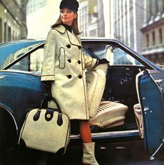 simplymagdorable:  Sophisticated vinyl travel coat and case, 1966 (image scanned by Magdorable)