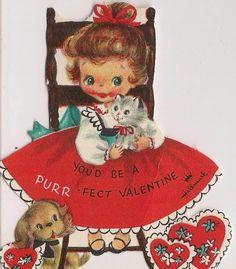 Vtg UNUSED 1950s Valentine's Day Card Girl w/Purrfect Valentine Kitten & Puppy