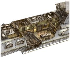 Cutaway of the gondola from Scott Westerfeld's book Behemoth.