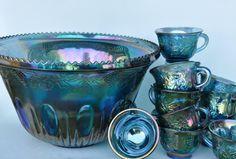 Vintage Punch Bowl Set Carnival Glass