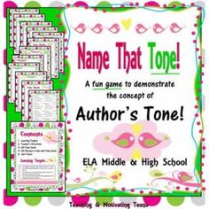 Bring a splash of fun and differentiation to your lesson about author's tone. Students randomly select tones and various phrases to pair. Great scaffolding technique, affective teaching strategy, and way to address multiple learning intelligences. Step-by-step directions for teachers.