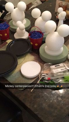 Mickey Mouse Centerpieces before spray paint!!!