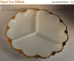 Christmas In July SALE Milk Glass Divided Serving Plate by GoGetOnHome on Etsy