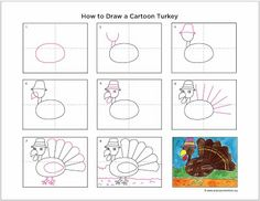 Art Projects for Kids: How to Draw a Cartoon Turkey