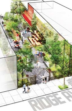 In Groundswell was commissioned by the Roxborough Development Corporation to design a small park space in a vacant lot in the Roxborough neighborhood of Philadelphia. Using the existing architecture of the space, Groundswell reimagined the site a Architecture Durable, Plans Architecture, Landscape Architecture Design, Architecture Drawings, Sustainable Architecture, Landscape Architects, Masterplan Architecture, Public Architecture, Architecture Diagrams