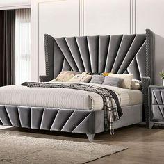 Bed Headboard Design, Upholstered Bed Frame, Bedroom Bed Design, Bedroom Furniture Design, Headboards For Beds, Bed Furniture, Modern Headboard, Bed Back Design, Art Deco Stil