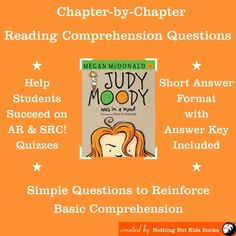 Reading Comprehension Questions for Judy Moody Book 1 - Judy Moody was in a Mood Comprehension Questions, Reading Comprehension, Judy Moody, Literature Circles, Author Studies, Book Club Books, Book 1, Student Reading, Spanish Lessons