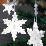 White Clay Snowflake Ornaments