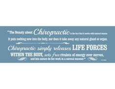 """Available in black or white vinyl, this 30"""" x 10"""" chiropractic decal features a powerful explanation on how chiropractic works by B.J. Palmer.For best results, decals must be installed on smooth surfaces or lightly / minimally textured surfaces only."""