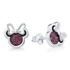 Minnie Mouse Silver & Pink Cubic Zirconia Stud Earrings  Take a look at these Minnie Mouse Silver & Pink cubic zirconia earrings. These Mickey Mouse CZ earrings are super stylish and cute. They are the perfect accessory for all of your Disney fashion outfit ideas. They are approximately 9 mm in size.  #disney