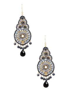 """Miguel Ases Hematite, Onyx, & Swarovski Crystal Drop Earrings 18K yellow gold-plated brass drop earrings with natural hematite cabochon details and faceted black onyx, round cut Swarovski crystal, and miyuki bead accents 14K yellow gold fill fishhook closure Measurements: 3½"""" long, 1¼"""" wide Material: 18K yellow gold-plated brass, 14K yellow gold fill, hematite, onyx, Swarovski crystal, and miyuki Brand: Miguel Ases Origin: United States"""