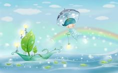 Best Fresh and Cool Fairy Tale World Wide Screen Photography - Cute, Cartoon, Rainbow, Umbrella, Nature, Weather, Best, Lit, Computer, Illustration